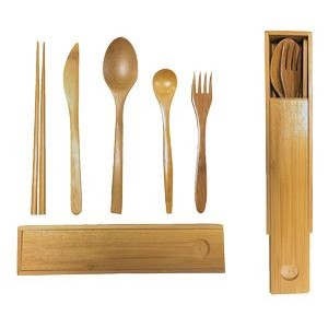 Bamboo Cutlery Box Set: Includes 5 Imprinted Utensils